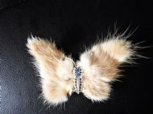 ELEGANT BROOCH SILVER TONE BUTTERFLY RABBIT FUR & MARCASITE & FAUX SEED PEARLS